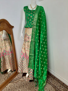 Golden Colored Lehenga with Green Dupatta