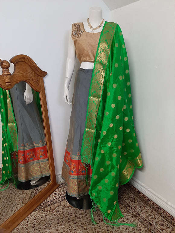 Blueish Grey Lehenga and Green Dupatta