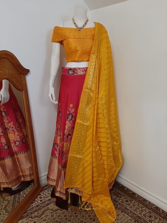 Pink Lehenga with Yellow Dupatta