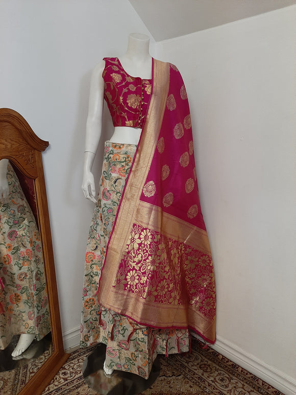 White Brocade Lehenga and Pink Dupatta