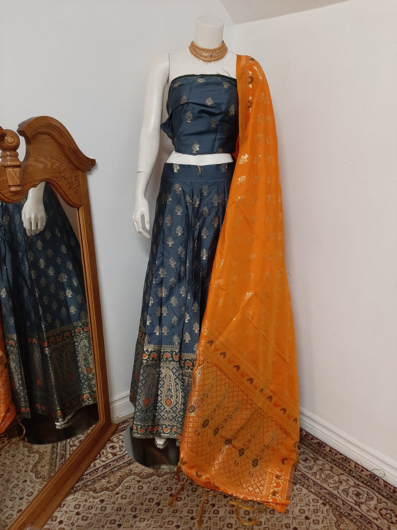 Greyish Blue Lehenga and Orange Lehenga