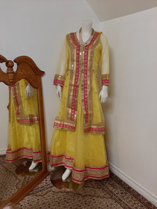Yellow Lehenga with Gotta Patti