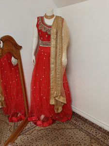 Red Lehenga with Red Blouse and Golden Dupatta