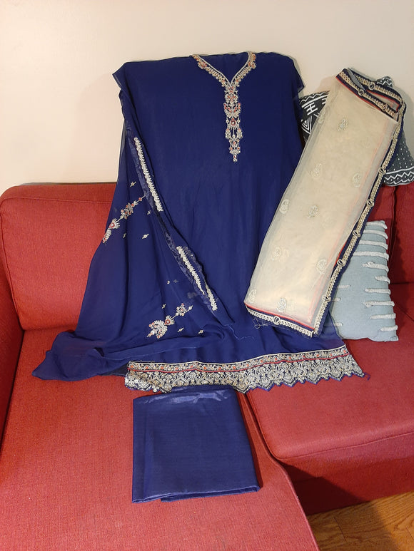 Semi Stitched Kurta- Blue Color