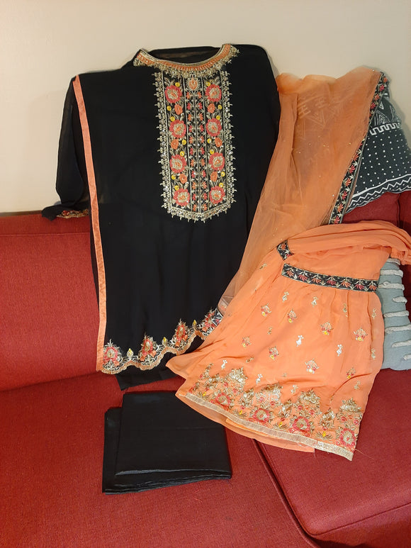 Semi Stitched Kurta, Stitched Sharara- Black/Orange Color