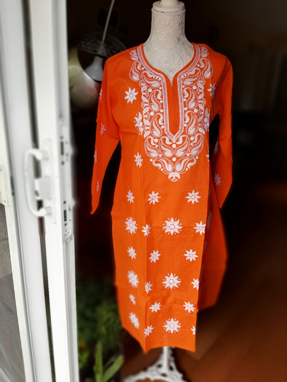Orange Chikankari Kurta- Cotton