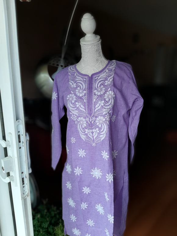 Light Purple Chikankari Kurta- Cotton