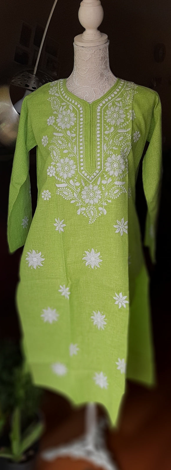 Light Green Chikankari Kurta- Cotton
