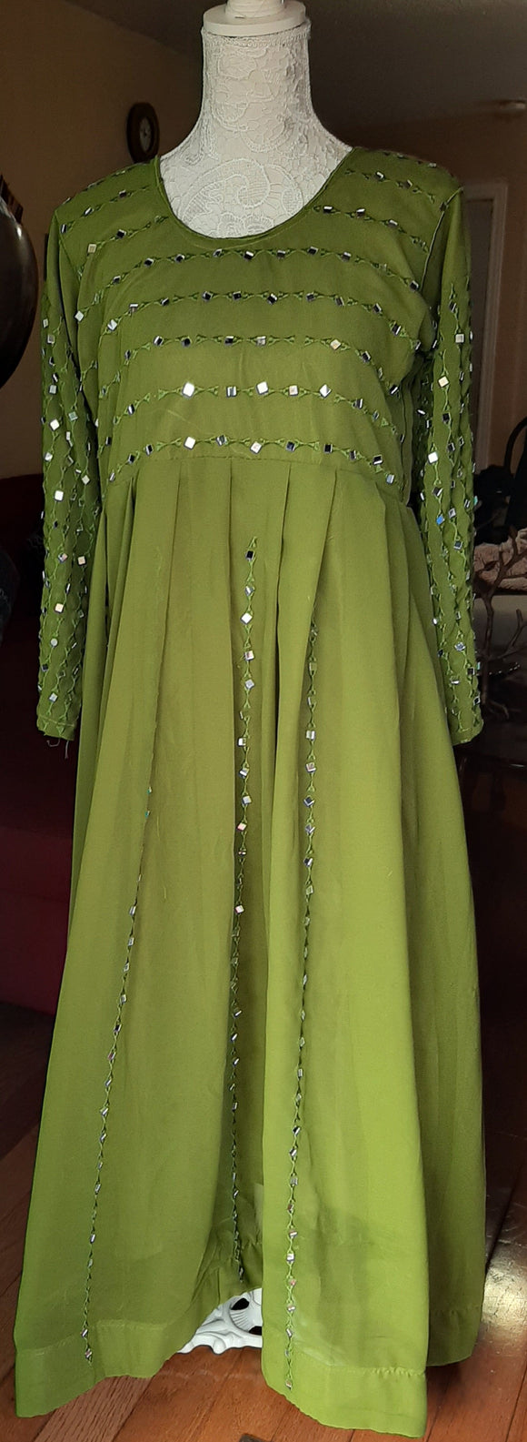 Green Long Gown with Mirror Work