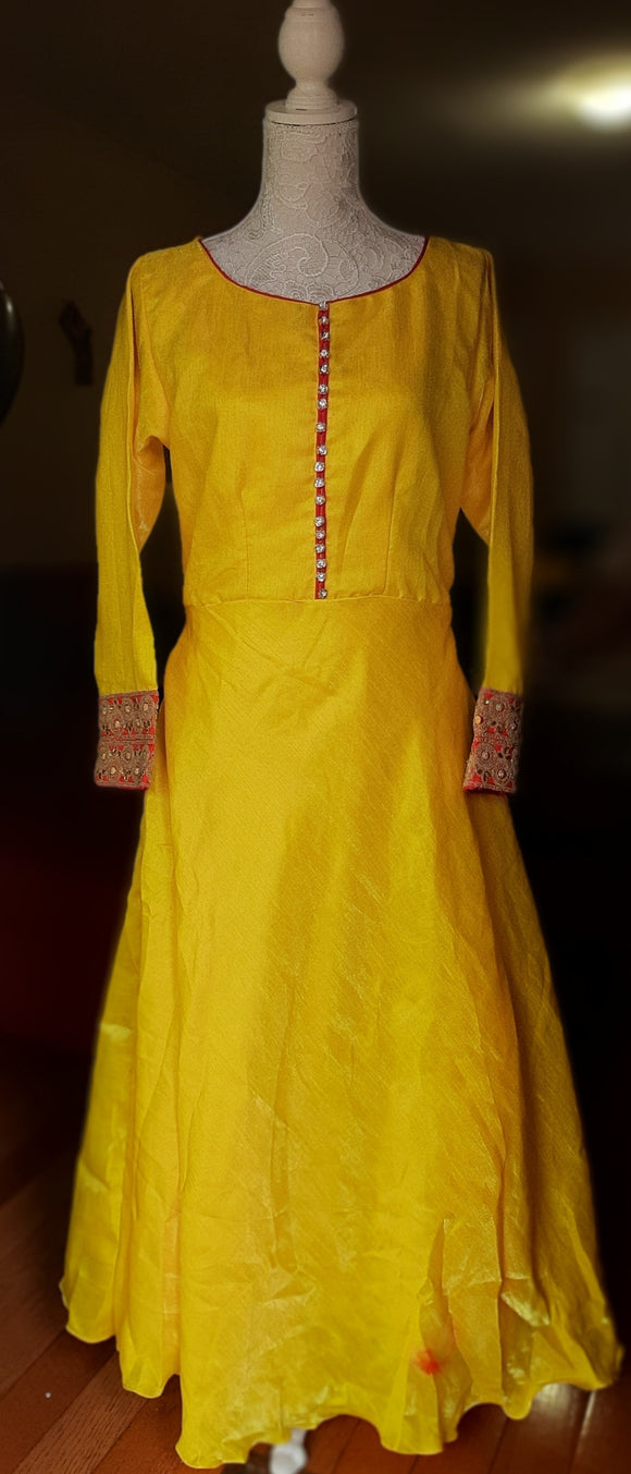 Yellow Colored Long Gown