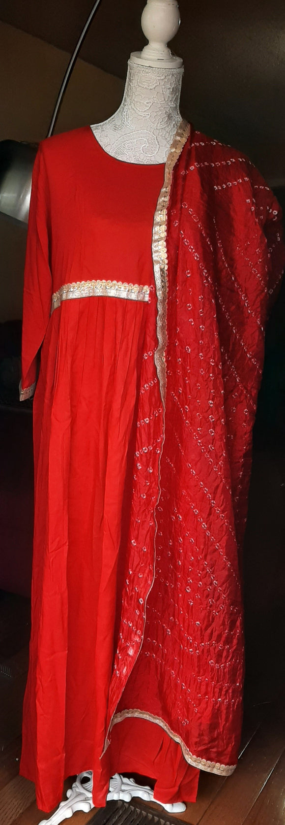 Plain Red Long Gown with Dupatta