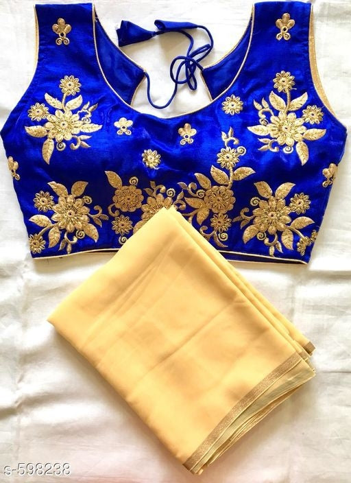 Yellow Saree with Designer Blue Blouse
