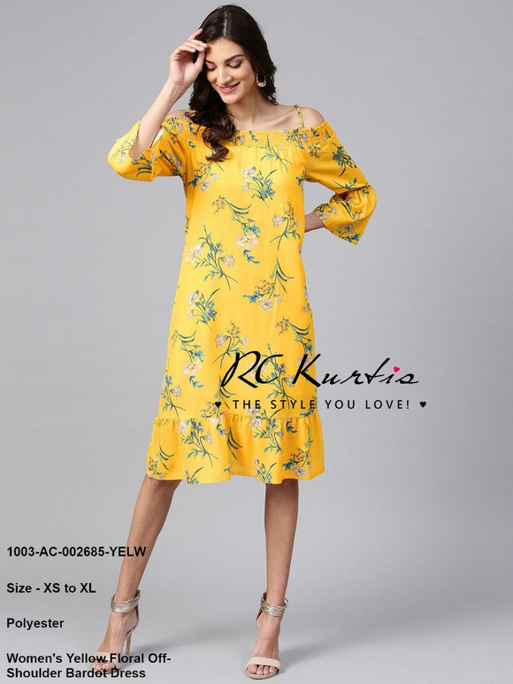 Women's Yellow Floral Off- Shoulder Dress