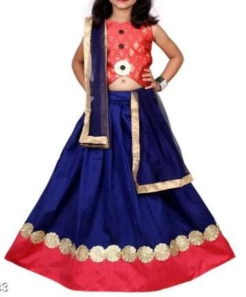 Designer Lehenga with Orange Blouse - Age 6-8