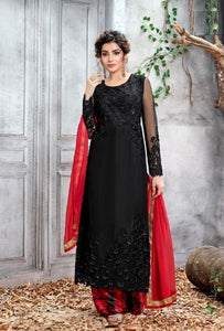 Black Kurta Palazzo With Red Duppata