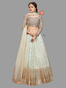 Designer  Blue Net Sequins Work And Thread Work Wedding Lehenga Choli
