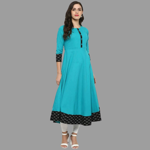 Aqua Blue Cotton Anarkali
