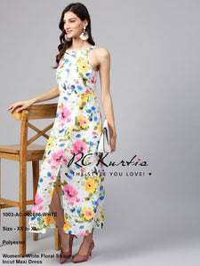 Women's White Floral Strappy Incut Maxi Dress