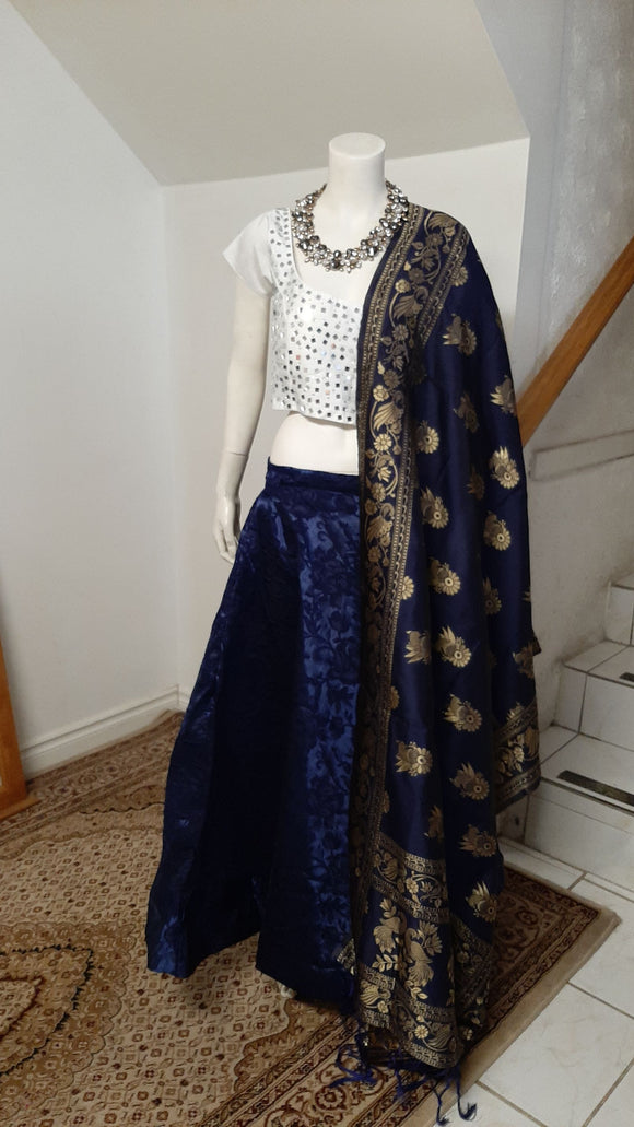 Blue Lehenga and White Blouse+ Dupatta