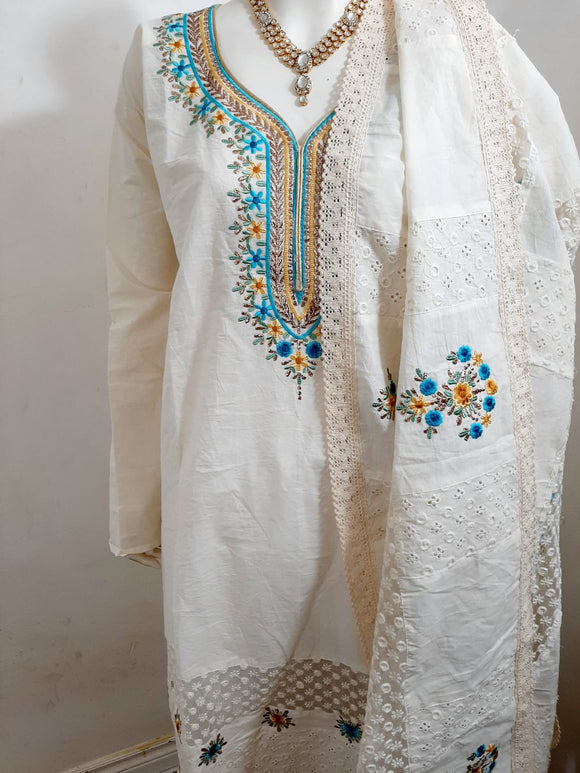 Khaadi Cotton Suit in White/Cream
