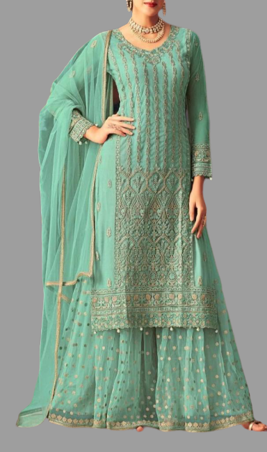 Semi Stitched - Turquoise Green Color