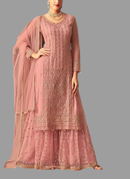 Designer Heavy Palazzo Set - Millineal pink colour