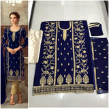 Heavy Georgette Navy Blue Embroidered with Chudidar Pants