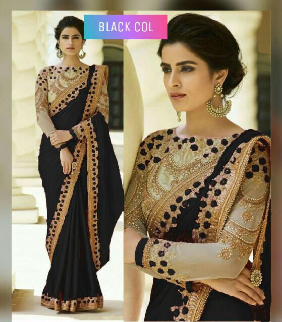 Rangoli Silk Saree With Embroidery - Black colour