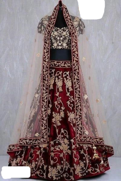 Velvet Lehenga with Work in Maroon Colour
