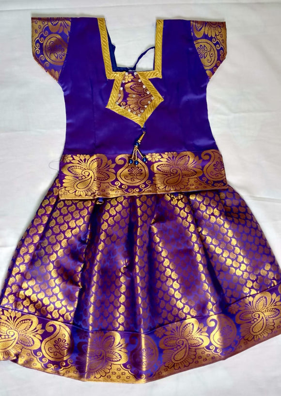 Traditional Purple Pavada/Lehenga & Purple Blouse - Age 6-7