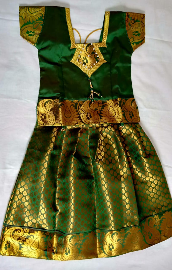 Traditional Bottle Green Pavada/Lehenga - Age 8-10