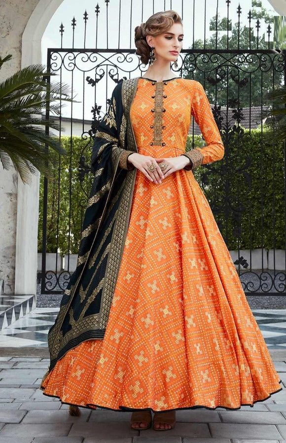 Orange Long Gown With Black Dupatta