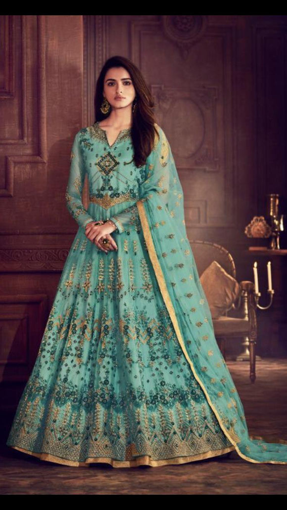 Turquoise blue long Gown