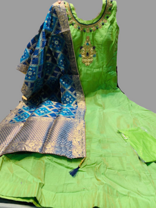 Green Long Gown With Blue Dupatta