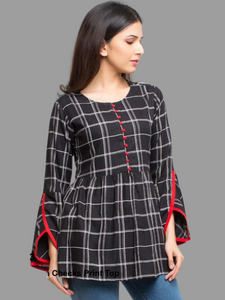 RC Black checked Top