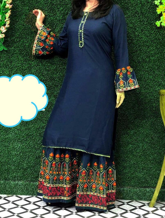 Lovely Kurta and Pallazo-Blue