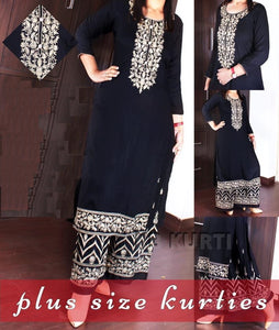 Lovely Kurta and Pallazo Plus size- Black & White