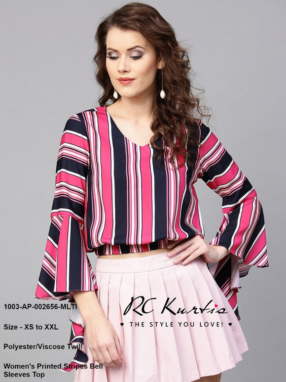 Women's Printed Stripes Bell Sleeves Top