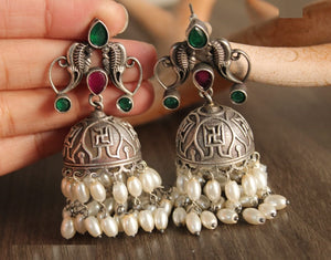 Artistic Collections- Bell Shaped Earing- Green Pink Stones