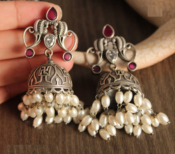 Artistic Collections- Bell Shaped Earing- Pink Stones