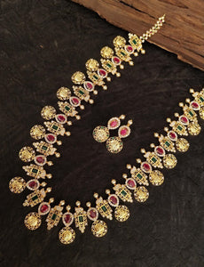 Traditional Collections- Golden Necklace & Earing- Pink