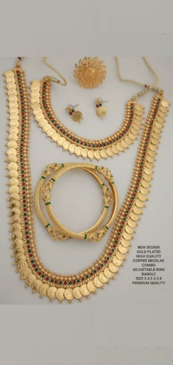 Traditional Collections- Gold Plated Adjustable Necklace, Bangles
