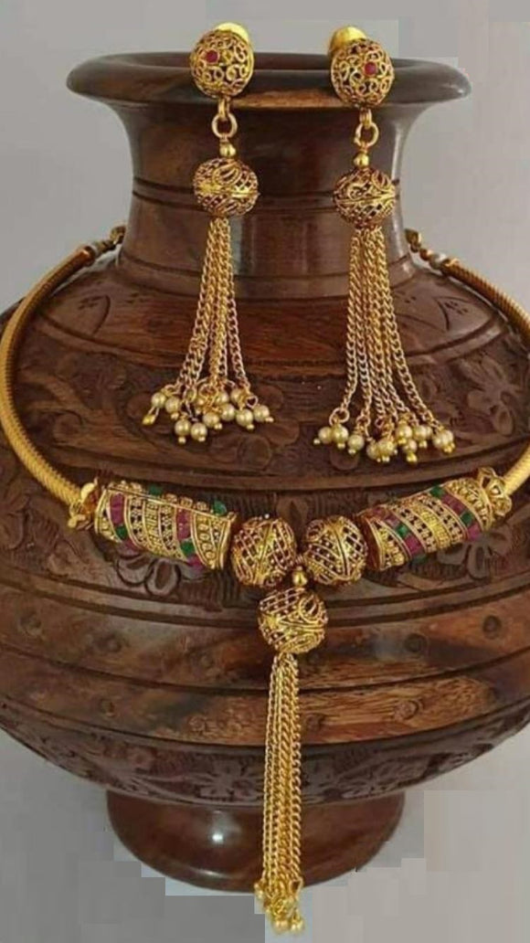 Traditional Collections- Golden Choker & Earings