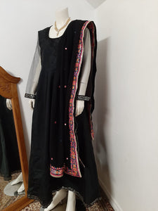 Black Long Gown- Embroidered Dupatta