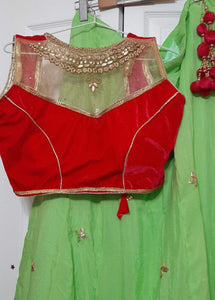 Georgette Lehenga with Zari in patterns- Semi-stitched & unstitched blouse