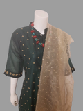 Green Straight Kurta  with Golden Dupatta