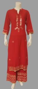 Red Kurta and Pants