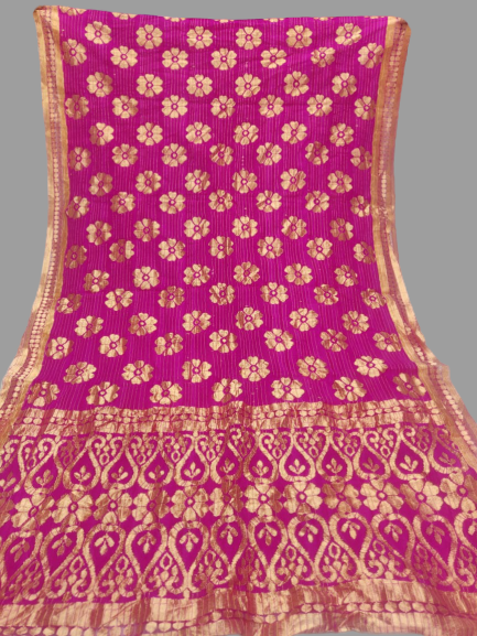 Pink with Gold Border Dupatta - Fancy material