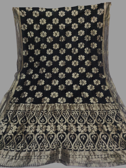 Black with Golden Border Dupatta - Fancy material