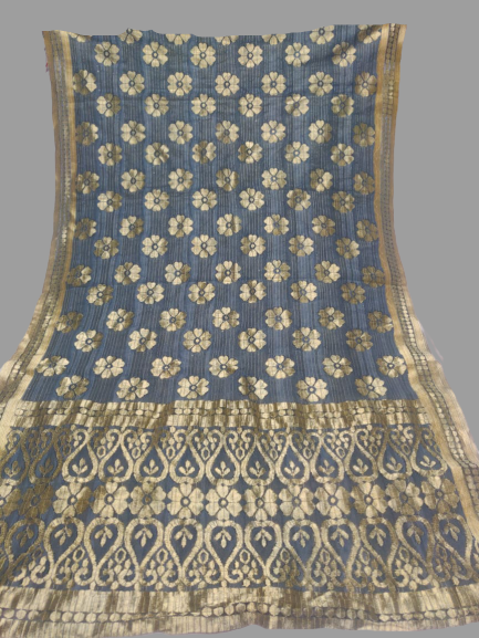 Bluish Grey with Golden Border Dupatta - Fancy material